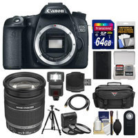 Canon EOS 70D Digital SLR Camera Body with 18-200mm IS Lens + 64GB Card + Case + Flash + Battery + Tripod + Kit