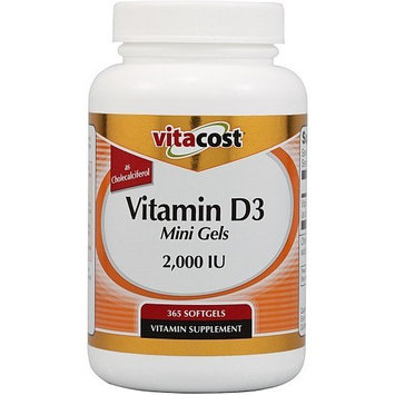 Vitacost Brand Vitacost Vitamin D3 (as Cholecalciferol) -- 2000 IU - 365 Softgels - Mini Gels