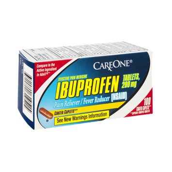 CareOne Ibuprofen Coated Caplets Pain Reliever/Fever Reducer - 100 CT