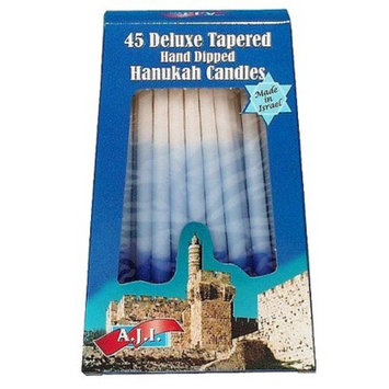 Core Distribution A.J.I. Deluxe Tapered Hand-Dipped Blue/White Hanukah Candles 45-pk.