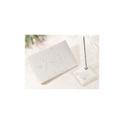 Lillian Rose Collection Ivory Sequin Lace Guest Book with Pen Set