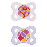 Mam Trends Silicone Pacifier, 2 Months, 2 Pack, Pink/Blue/Green