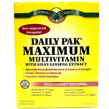 Spring Valley Daily Pak Maximum Multivitaminwith Asian Ginseng Extract