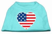 Ahi American Flag Heart Screen Print Shirt Aqua XL (16)