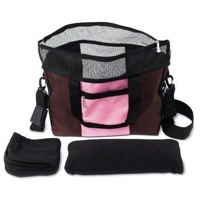 Doggles Dog Carrier Denier Messenger Bag, Large, Pink Dog Carrier