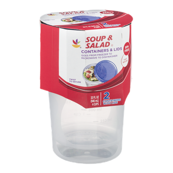 Ahold Soup & Salad Containers & Lids - 2 CT