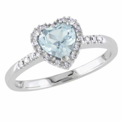 Amour Silver Diamond & 5/8 ct Aquamarine Heart Ring, White, Blue, 9, 1 ea
