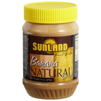 Sunland Banana Peanut Butter Spread (No Stir), 16-Ounce PET Jars (Pack of 6)