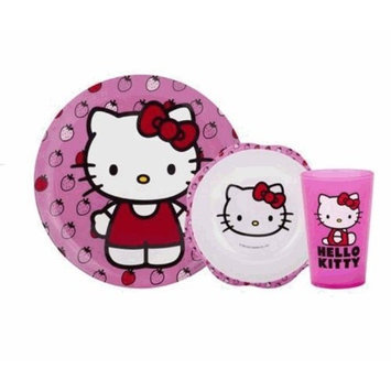 Hello Kitty 3Piece Mealtime Set Plate, Bowl & Tumbler