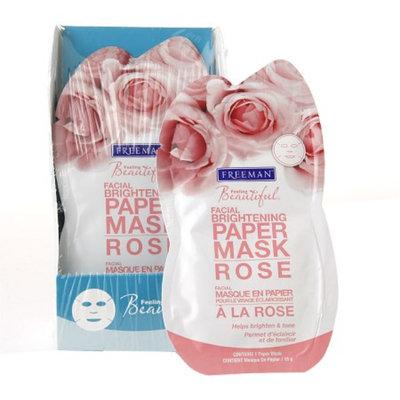Freeman Feeling Beautiful Facial Brightening Paper Mask, Rose, 6 ea