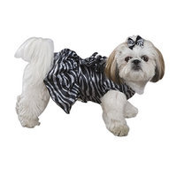 Zack & Zoey Polyester Platinum Print Zebra Dog Dress, X-Small, Black