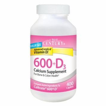 21st Century Calcium 600 +D, 400 caplets