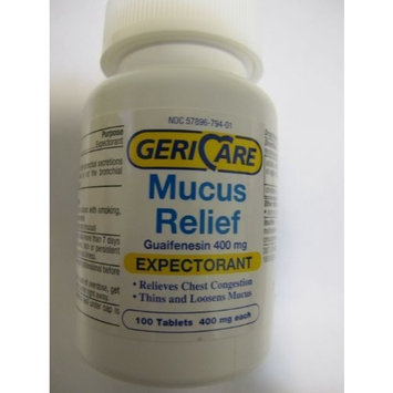 Gerricare Expectorant 100 Count Bottle Expectorant Mucus Relief Guaifenesin 400mg active ingredient as in Mucinex® Relieves Chest Congestion
