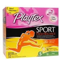 Playtex Sport Fresh Balance Regular/Super Absorbency Tampons - 32