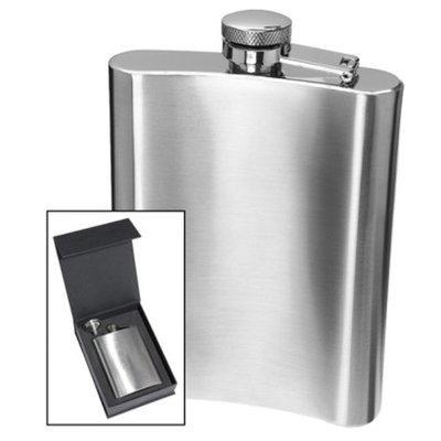 Oggi 18/8 Stainless Steel Hip Flask - Silver (8 oz)