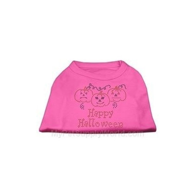 Mirage Pet Products 521301 XLBPK Happy Halloween Rhinestone Shirts Bright Pink XL 16