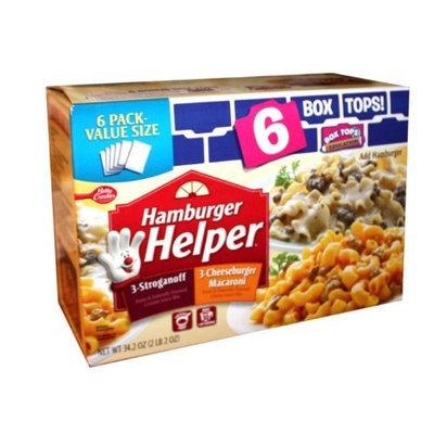 Hamburger Helper 6 Pack Value Size - 3-Stroganoff, 3-Cheeseburger Macaroni NET WT 34.2oz