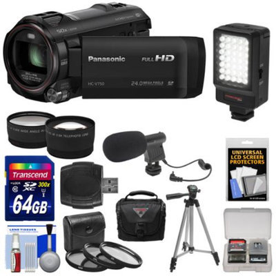 Panasonic HC-V750K HD Wi-Fi Video Camera Camcorder with 64GB Card + Case + LED Light + Mic + Tripod + 3 Filters + Tele/Wide Lens Kit