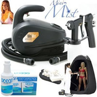 Apollo T100 Mini-Mist® HVLP Sunless Spray Tanning System; Pint of Ocean 8.5% DHA Tanning Solution, 4 Solution Variety Pack, Tanning Tent & Accessories Kit