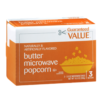 Guaranteed Value Butter Microwave Popcorn Bags - 3 CT