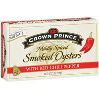 Crown Prince Mildly Spiced Smoked Oysters with Red Chili Pepper, 3 oz
