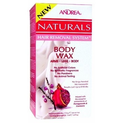 Andrea Naturals Hair Removal System Body Wax for Arms, Legs and Body - Pomegranate & Cranberry, 4-Ounce