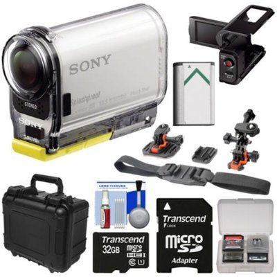 Sony Action Cam HDR-AS100V Wi-Fi GPS HD Video Camera Camcorder with 32GB Card + Battery + LCD Cradle + Helmet Mounts + Hard Case Kit