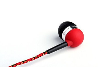 Tweedz Red Earbuds - In Ear Headphones with 100% Braided Fabric Wrapped Cords