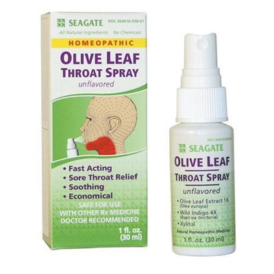 Seagate Products Olive Leaf Homeopathic Throat Spray 1 oz Unflavored, 1-Pack