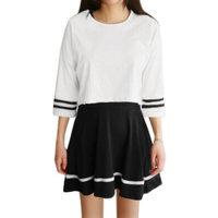 Allegra K Lady Varsity-Striped Crop Top w A Line Dresses Sets Black White XS