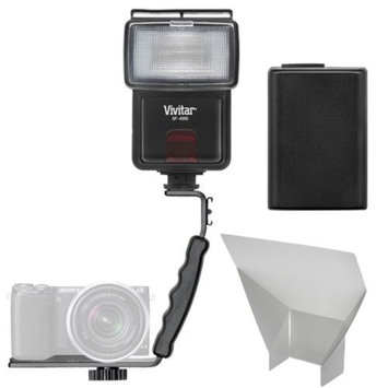 Vivitar SF-4000 Auto Bounce Zoom Slave Flash with Bracket + NP-FW50 Battery + Flash Reflector + Accessory Kit for Sony Alpha A7, A7R, A3000, A5000, A6000, NEX-3N, 5T, 6, 7 Digital Cameras