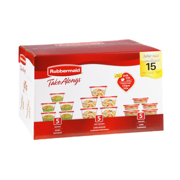 Rubbermaid Take Alongs 15 Assorted Containers and Lids- 15 PK