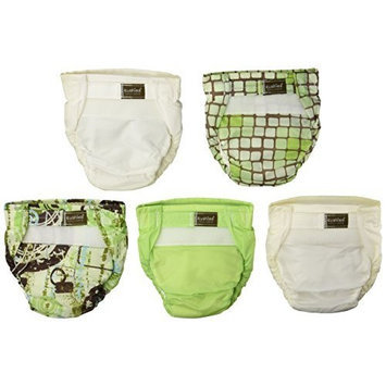 Kushies 5 Pack Washable Ultra-Lite Diaper For Infant, Neutral Print