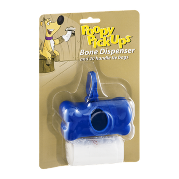 Poopy Pick Ups Bone Dispenser and Tie Bags - 20 CT