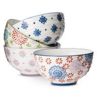 Boho Boutique Floral Ceramic Cereal Bowl Set of 4