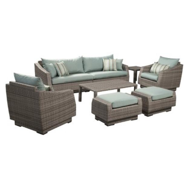 RST Outdoor Cannes 8-Piece Wicker Patio Conversation Furniture Set - Blue