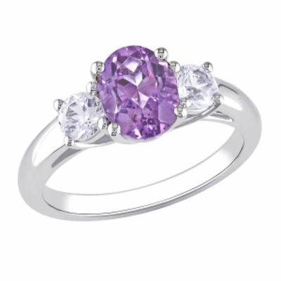Amour Silver Amethyst & Created Sapphire Ring, 8, White, Purple, 1 ea