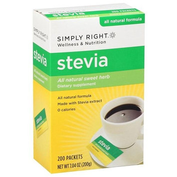 Simply Right Stevia All Natural Sweet Herb Dietary Supplement - 200 ct.