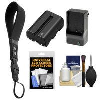OP/Tech Op/Tech USA Neoprene DSLR Camera Wrist Strap (Black) with Battery & Charger for Sony Alpha DSLR SLT-A57, A58, A65, A77, A99