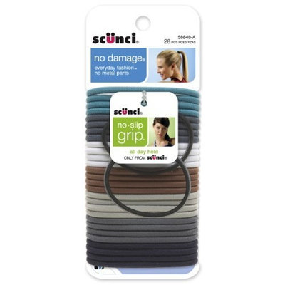 Scunci Effortless Beauty Large No-damage Denim Elastics with 2 Bonus Black Elastics