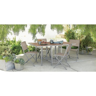 Threshold 5 Piece Sling Folding Patio Furniture Set, Bryant Collection