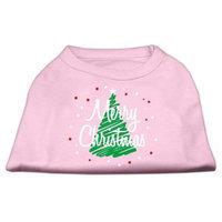 Mirage Pet Products 512515 XSLPK Scribbled Merry Christmas Screenprint Shirts Light Pink XS 8