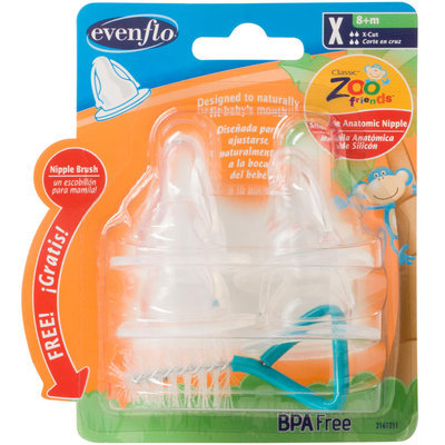 Evenflo Baby ZF Anatomic Nipple with Brush X cut (4 Pack)