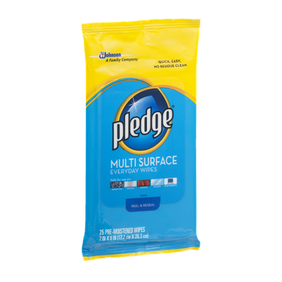 Pledge Pre-Moistened Everyday Wipes Multi Surface - 25 CT