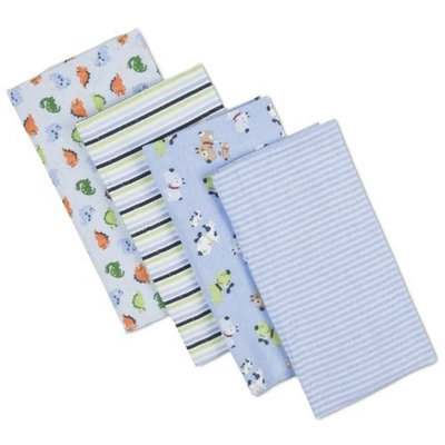 Gerber 4 Count Flannel Burp/Diaper Print, Blue (Discontinued by Manufacturer)