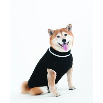 Fashion Pet Lookin Good Classic Cable Sweater for Dogs, Large, Black