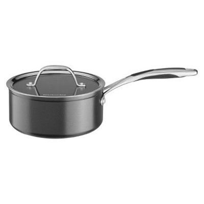KitchenAid 2 Quart Hard Anodized Saucepan with Lid - Black