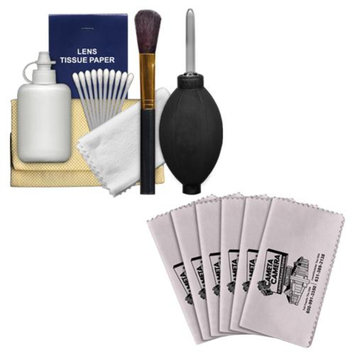Precision Design 6-Piece Camera & Lens Cleaning Kit with Blower, Brush, Fluid, Cloth, Tissues & Tips + 6 Microfiber Cleaning Cloths