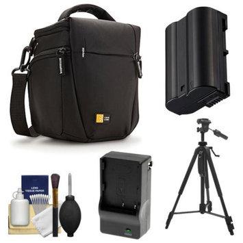 Case Logic TBC-406 Digital SLR Camera Holster Case (Black) with EN-EL15 Battery & Charger + Tripod + Kit for Nikon D7000, D7100, D600, D800
