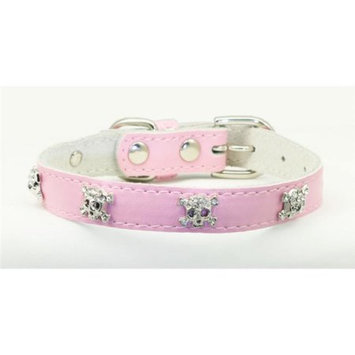 Hip Doggie HD-4SCP-S Small Pink Skull Leather Collar